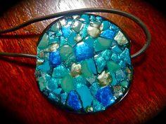 Decoupage: Egg Shell Mosaic Pendant on Glass Bead and Nail Polish - Vid Tutorial