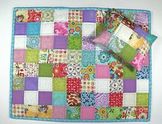 Doll Bedding, Handmade  Doll Quilt, Scrappy Patchwork Doll Quilt, Blue Doll Blanket, 2pc Doll Accessories, American Girl Doll Bedding.
