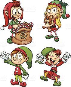 Set of four joyful cartoon Christmas elves royalty-free stock vector art