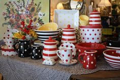 Home goods - love the polka dots and stripes and the colors! Home Goods Store, Kitchen Mixer, Love To Shop, Bathroom Furniture, Kitchen Gadgets, Kitchenware, Gingham, Dinnerware, Home Accessories