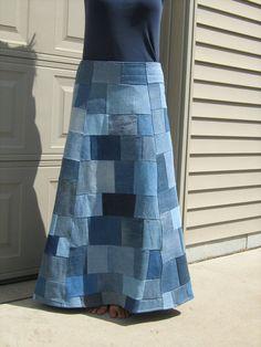 Items similar to Upcycled Patchwork Size 10 Long Denim Skirt on Etsy Denim Skirt Outfits, Denim Maxi Dress, Denim Patchwork, Patchwork Dress, Diy Clothes Patterns, Quilted Skirt, Denim Shirt Men, Denim Crafts, Recycled Denim