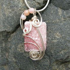 Rhodochrosite Wire Wrapped Pendant  Pink Necklace in by CareMore, $29.00