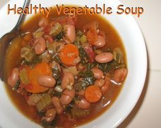 Recipes - Fabulessly Frugal - Healthy Vegetable Soup that can be made in the crock pot. Vegetable Soup Crock Pot, Crock Pot Vegetables, Vegetable Soup Healthy, Veggie Soup, Healthy Vegetables, Healthy Soup Recipes, Crockpot Recipes, Fresh Vegetables, Fast Recipes
