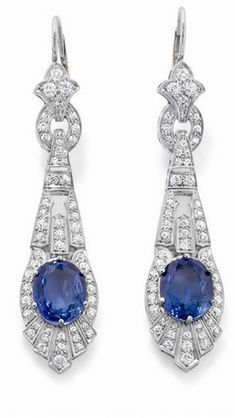 Art Deco Sapphire and Diamond Ear Pendants