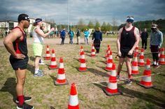 Members of the Shady 80s, a 37th Airlift Squadron team, complete the blindfolded portion of the obstacle course during the annual Courage, Leadership, Education, Advocacy and Respect Challenge at Ramstein Air Base, Germany, on Friday, April 14, 2017. (MICHAEL B. KELLER/STARS AND STRIPES)