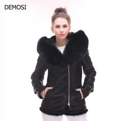 >> Click to Buy << High Quality Womens Real Fur Short Leather Jacket Ladys Winter Coats Hooded Plus Size Pockets Chaquetas De Cuero Mujer Biker #Affiliate