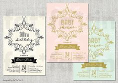 PRINTABLE Bridal Shower / Baby Shower / Birthday Deco Flourish Frame Invitation | Custom Elegant Party Invite | PRINTED CARD / jpg / pdf - by fatfatin