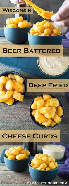 Wisconsin Beer Battered Deep Fried Cheese Curds Recipe Beer Battered Deep Fried Cheese Curds are a classic Wisconsin appetizer featuring gooey melted cheese waiting to ooze out of a crisp beer flavored crust! Deep Fried Cheese Curds, Cheese Fries, Beer Cheese, A&w Cheese Curds Recipe, State Fair Cheese Curds Recipe, Cheese Food, Pimento Cheese, Cheese Party, Cheese Ball