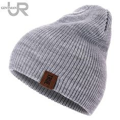 7c12f6930ea 1 Pcs Hat PU Letter True Casual Beanies for Men Women Warm Knitted Winter  Hat Fashion Solid Hip-hop Beanie Hat Unisex Cap