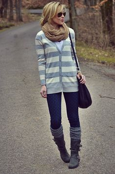 A Gap cardigan, scarf, and pair of jeans as featured on the blog Happily Grey.