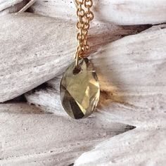 """Sale Stone Jewelry Swarovski Teardrop Necklace This dainty and delicate Swarovski Crystal hangs on a 18"""" 14k Gold dipped chain. Handmade by Southwest Gem Stones. Multiple quantities available by request. Southwest Gem Stones Jewelry Necklaces"""