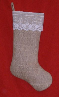 Burlap and Lace Stocking