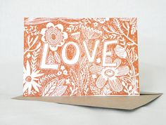 Love Linocut Hand Printed card with flowers by AmeliaHerbertson, $6.00