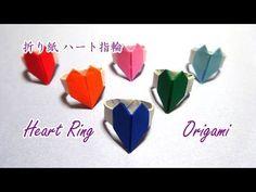 "How to make a ""Heart's ring""バレンタインに。「ハートの指輪」折り紙 - YouTube"