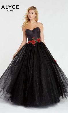 Alyce Prom 60363 The fabric in this Alyce Paris Prom style is Mikado/Embroidery Cheap Elegant Dresses, Pretty Dresses, Strapless Dress Formal, Formal Dresses, Pagent Dresses, Formal Wear, Dress Long, Prom Dress Stores, Designer Prom Dresses