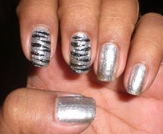 Zebra Nail Art Black & silver or red and white