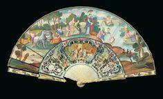 2 Faltfächer, um 1750/60