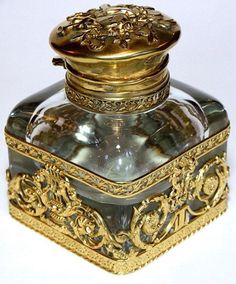 Antique French Empire Dore Bronze Crystal Inkwell | ©