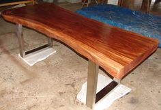 Live Edge Dining Table Reclaimed Solid Slab Acacia Wood by flowbkk on Etsy