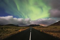 size: Photographic Print: Aurora Road by Christopher Waddell : Photography Awards, Travel Photography, Northen Lights, Geocaching, Nice View, Iceland, Norway, Disneyland, Aurora