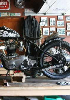 The bike and the workshop.