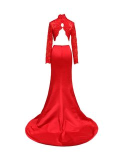 LovingDress Women's Prom Dresses Spandex&Tulle Two Pieces Mermaid Evening Dress-RED