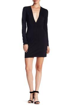 Image of Socialite Long Sleeve Deep V Bodycon Dress