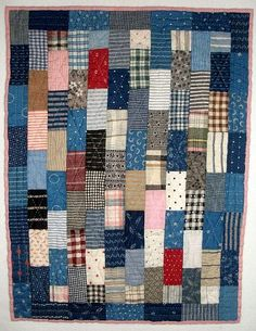 Antique Doll Quilt in many shades of blue.