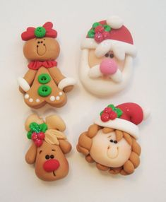 Mini Mix Set Christmas Polymer Clay Charm Bead Scrapbooking Embelishment Bow Center Pendant Cupcake Topper by terrie Polymer Clay Ornaments, Polymer Clay Figures, Fimo Clay, Polymer Clay Projects, Polymer Clay Charms, Polymer Clay Creations, Clay Crafts, Christmas Crafts, Christmas Ornaments