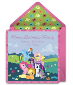 A collection of FREE My Little Pony party invitations. We love this design with all of the My Little Pony Friends. A digital template that's easy to personalize and send online for free.