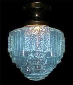LARGE VINTAGE ART DECO BLUE OPALESCENT CHANDELIER  FIXTURE - PAIR AVAILABLE  $525.50