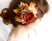 autumn foliage hair clip - for a woodland wedding