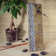 Natural Slate Clock  Sand Carved Stone w/ Woodland by stonegifts