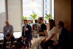 Panel, from left to right: Zak Kidd (President and COO, Swingspace);Kyle Roberts (President,Smart Media Group); Kley Sippel (wework Community Manager); Jodi Williams (Workplace Strategist, CallisonRTKL); and Steve Polo (Managing Partner, OPX design consultancy). Photo by Devin Overbey.