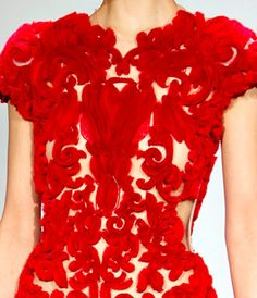 Gorgeous, intricate, red dress.