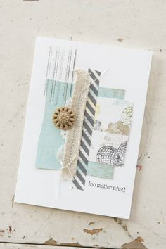 Uses the new Gorgeous Grunge stamp or you can the rotary Remember stamp to drag down the ink for a different distressed look - add washi tape and dsp and new embellishment and you have a fun fresh card.  So Shelli - So Shelli Blog - First Five