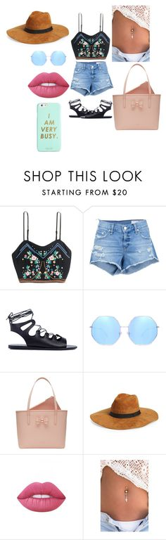"""We're Cool For The Summer"" by shreyatorvi ❤ liked on Polyvore featuring rag & bone/JEAN, Ancient Greek Sandals, Quay, Ted Baker, Amici Accessories, Lime Crime and ban.do"