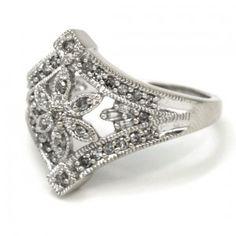 Lovely floral diamonds band. Size 7 Gold Diamond Rings, Diamond Bands, Cuff Bracelets, Diamonds, Floral, Jewelry, Fashion, Jewellery Making, Moda