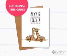 """""""Always my mother, forever my friend"""" Giraffe Mother's Day Card"""