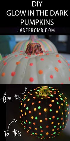 Check out these awesome pumpkins created by @jaderbomb Tulip glow in the dark paint is magical Halloween 2016, Holidays Halloween, Happy Halloween, Halloween Party, Halloween Costumes, Pumpkin Painting Ideas Diy, No Carve Pumpkin Ideas, Pumpkin Crafts, Diy Painting