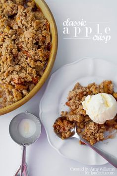 Apple Crisp Recipe | This dessert truly comes together in no time and I would bet you already have most or all these ingredients in your pantry.  I love how you can see the apples peeking through and you are going to have a hard time resisting dipping a spoon into the bubbly syrup this makes!