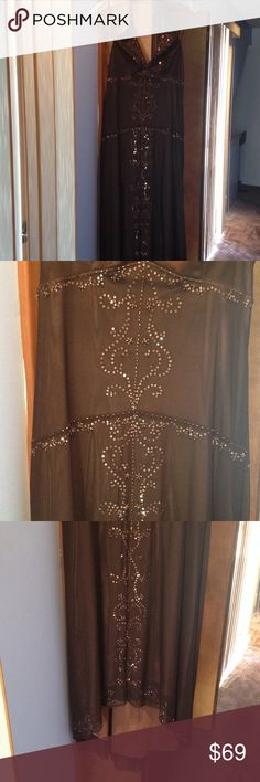 Brown halter top evening dress Sz 6 Laundry Worn once to a Wedding, bought at Bloomingdales in New York City, chocolate brown, beautiful details and sequence Laundry by Shelli Segal Dresses High Low