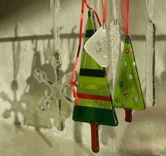 Fused glass Christmas decorations!