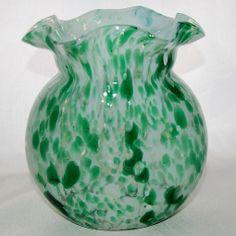Vintage Hand Blown Spatter Art Glass Bouquet Vase Green
