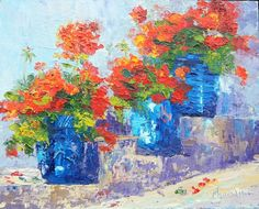 An original impressionist, plein aire painting of summer geraniums. Painted with a palette knife using thick juicy strokes as shown in the close-up photos.  Who doesnt love summer flowering containers?  Every year I look forward to potting up a variety of geraniums. These red ones look especially striking displayed in blue pots. An ideal gift for gardeners, flower arrangers or just flower lovers (and who isnt?).  Provence Pots, Geranium garden flowers Original oil painting by Marion Hedger…