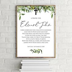 Printable Baptism Gift for Boy, Personalized Baptism Gifts, Print for Baby Boy, Personalized Baptism Baby Boy Baptism Gifts, Baby Boy Christening, Baptism Invitations Girl, Baby Dedication, Baby Blessing, Godchild, Fathers Day Crafts, Daughter Of God, Printable Designs