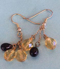 VINTAGE GOLD GARNET & YELLOW TOPAZ STONES CHAIN HOOK DANGLE PIERCE EARRINGS | Jewelry & Watches, Vintage & Antique Jewelry, Costume | eBay!