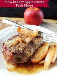 Slow Cooker Apple Butter Pork Chops via thefrugalfoodiemama.com #crockpot