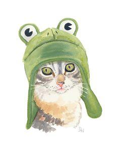 Cat Art Original Watercolor Cute Cat Frog Hat by WaterInMyPaint