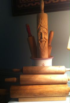 Woodspirit in a rolling pin! Tonight's carving in a dollar yard sale find!  Hand-carved by Elizabeth Brown.